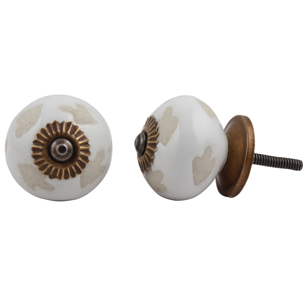 White Etched Ceramic Knob 51