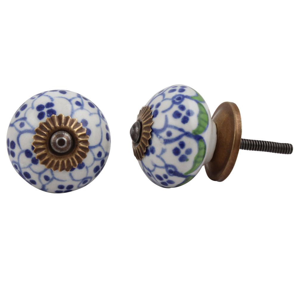 Blue Flower Dresser Knob