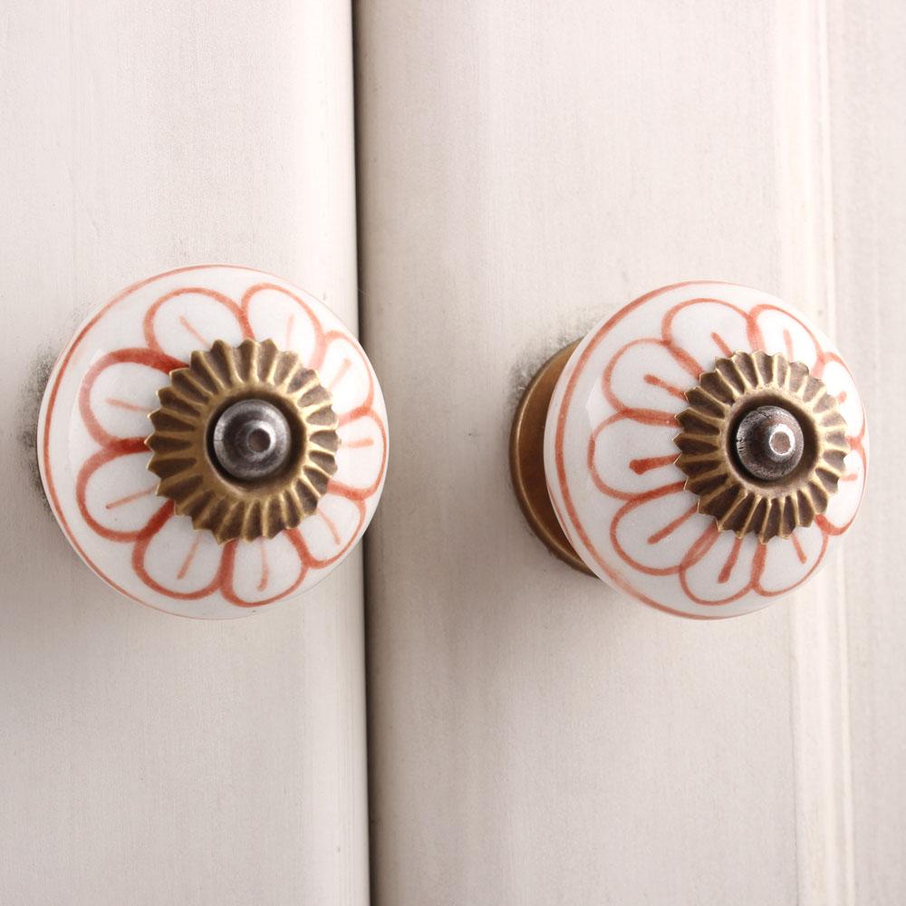 Brown Flower Dresser Knob
