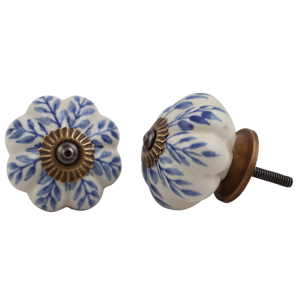 Blue Leaf Dresser Knob