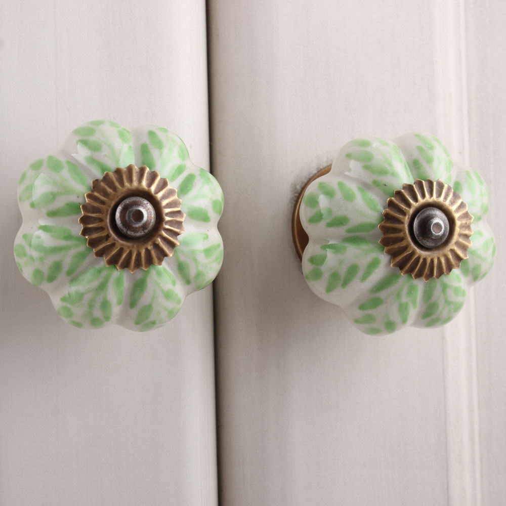 Old Lime Green Dresser Knob