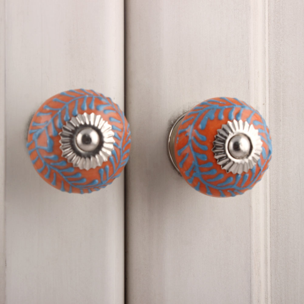 Turquoise Orange Leaf Drawer Knob