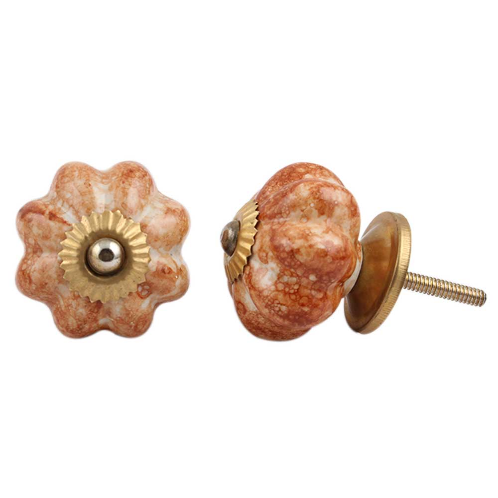 Brown Marble Melon Drawer Knob