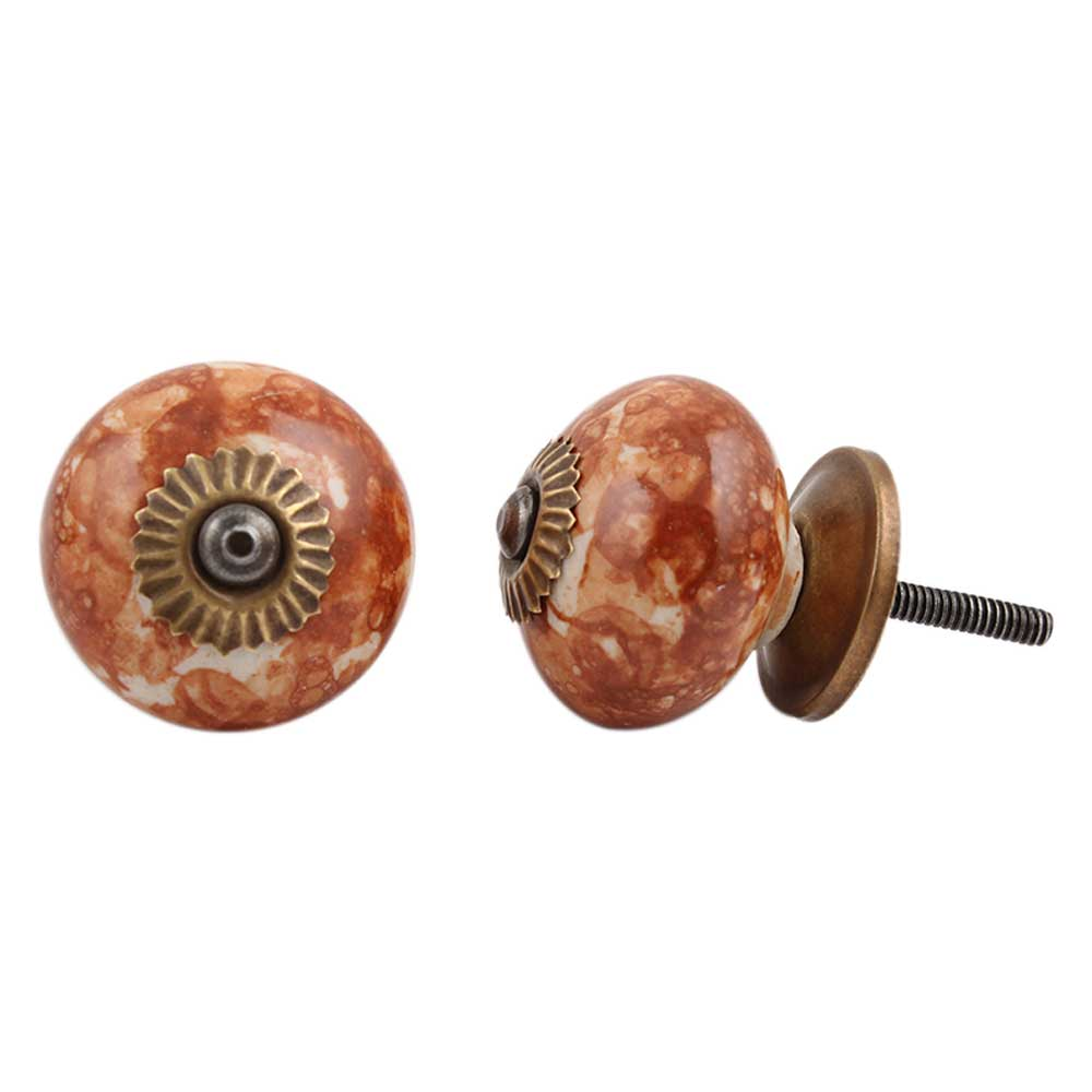 Brown Marble Round Drawer Knob