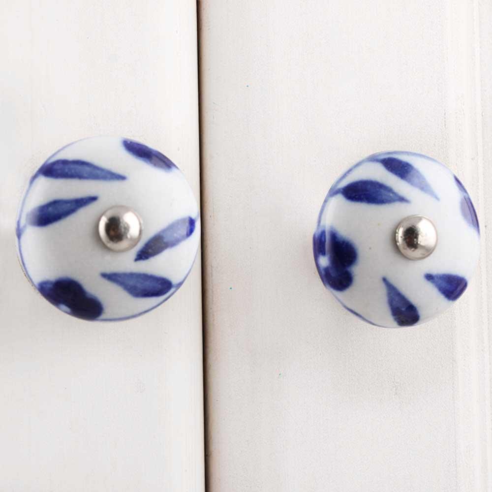 Blue Floral Medium Knob