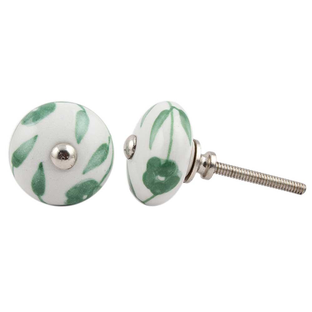 Green Floral Medium Knob