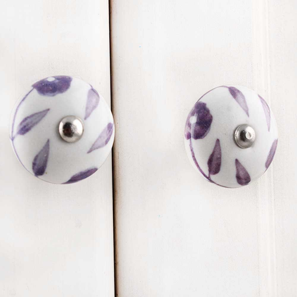 Purple Floral Medium Knob