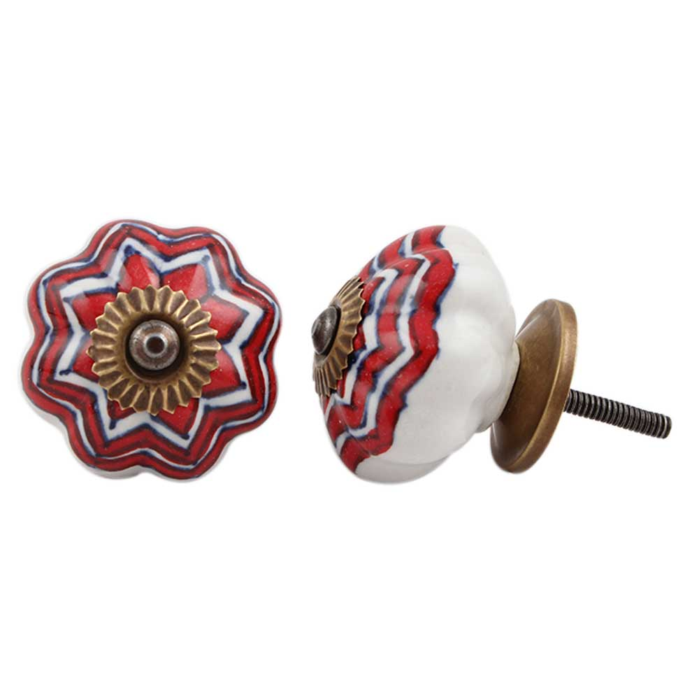 Red Flower Melon Drawer Knob