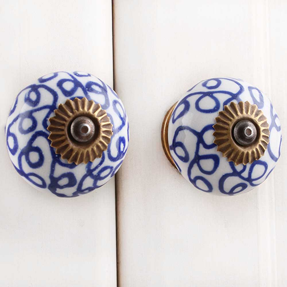 Navy Blue Floral Drawer Knob