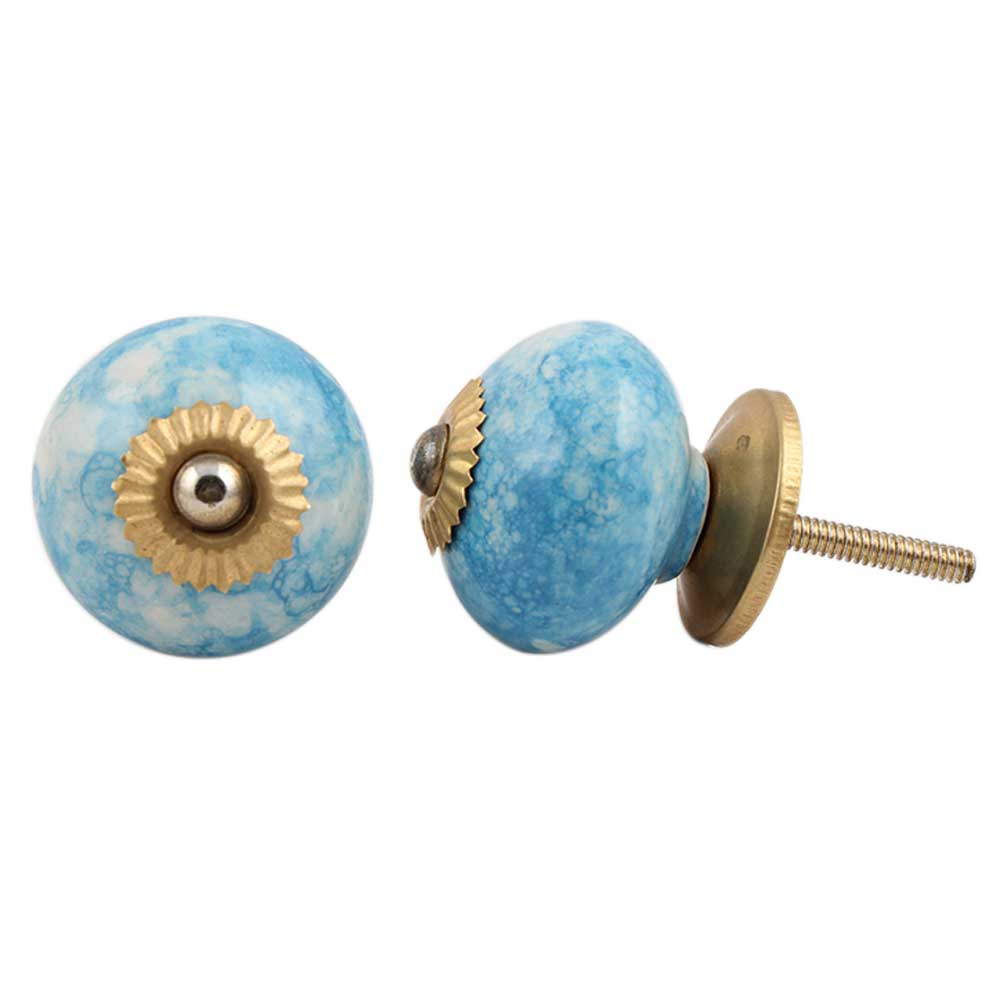 Turquoise Round Ceramic Drawer Knob