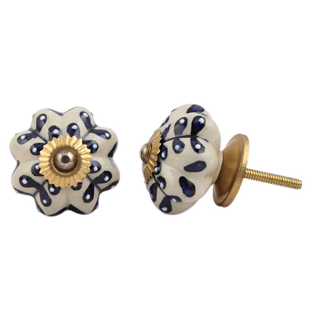 Blue Flower Drawer Knob