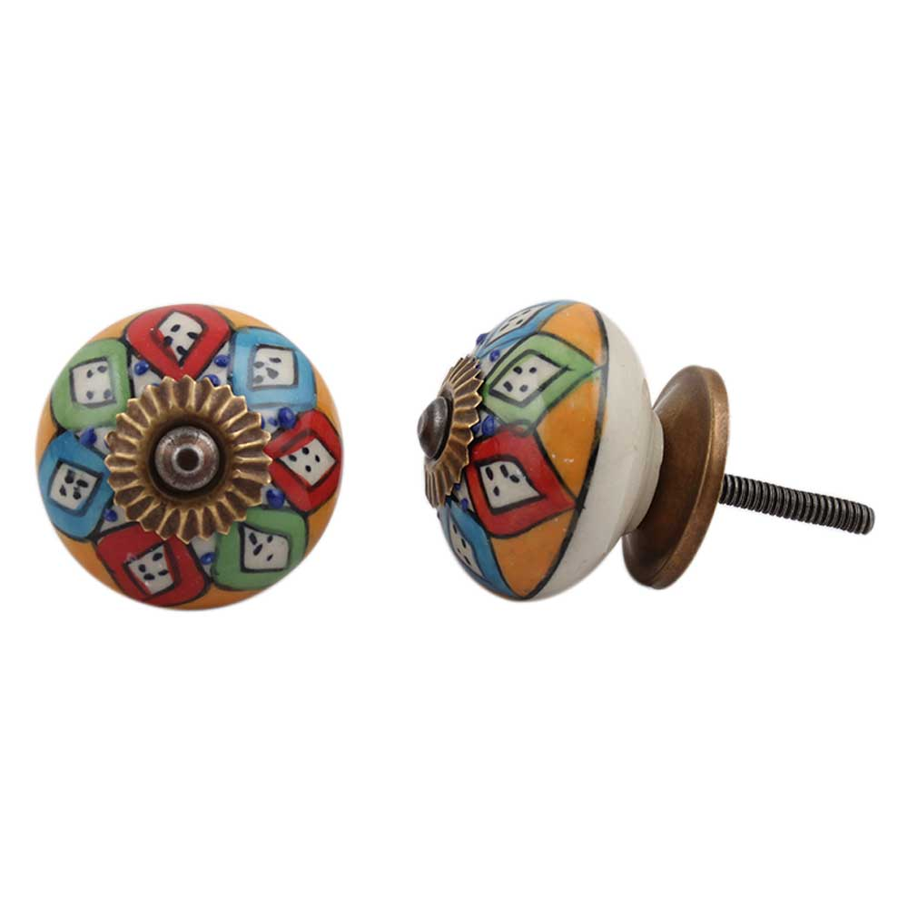 Mixed Floral Round Drawer Knob