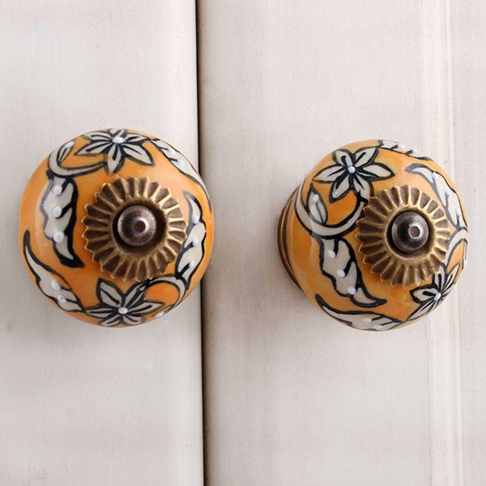Mustard Floral Ceramic Knob