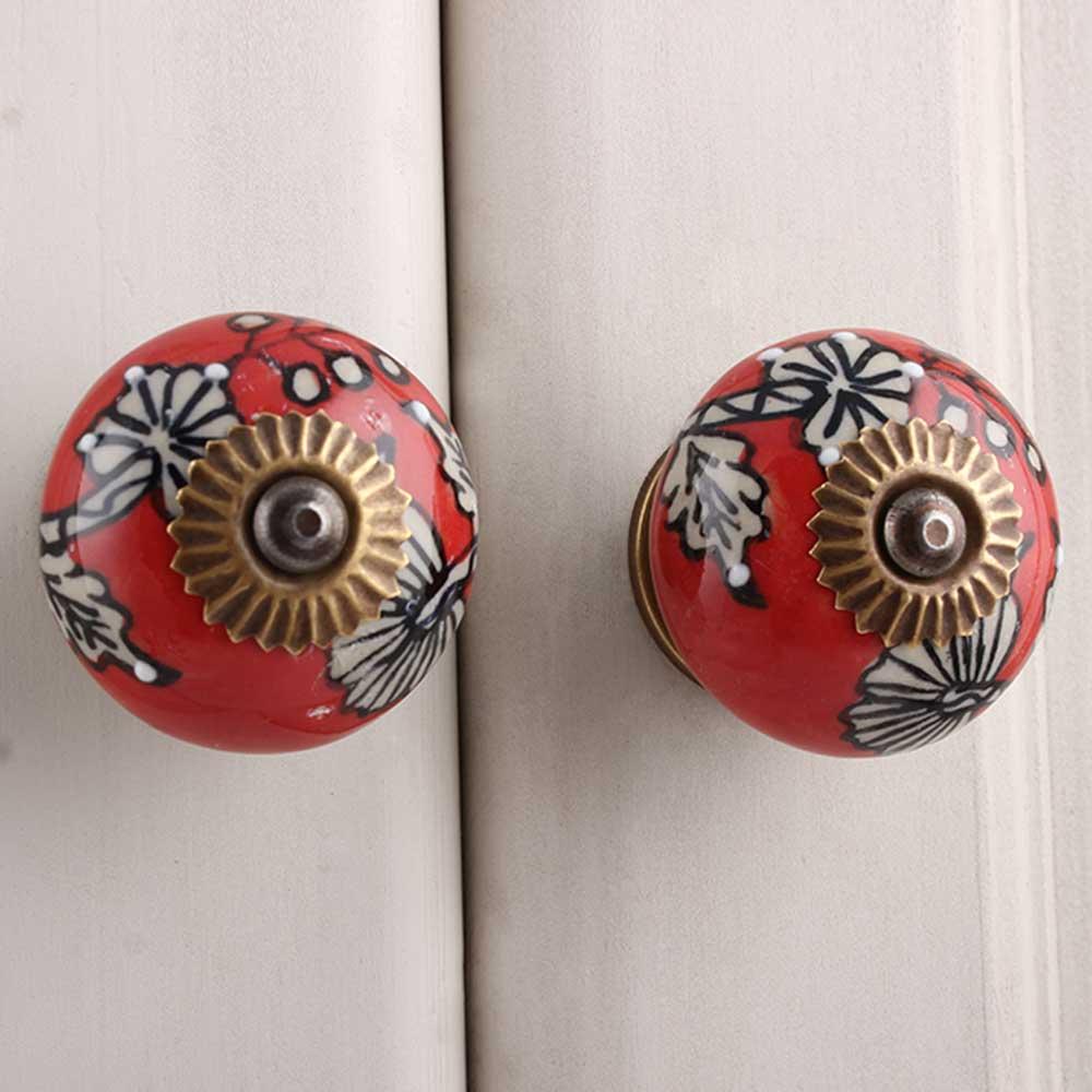 Red Leaf Floral Ceramic Knob