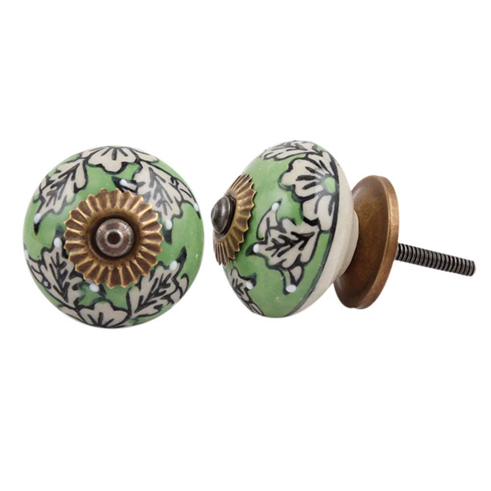 Green Leaf Floral Ceramic Knob