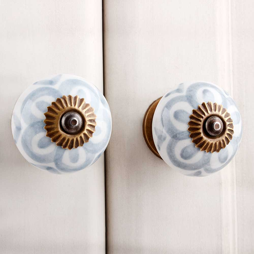 Grey Flower Ceramic Knob