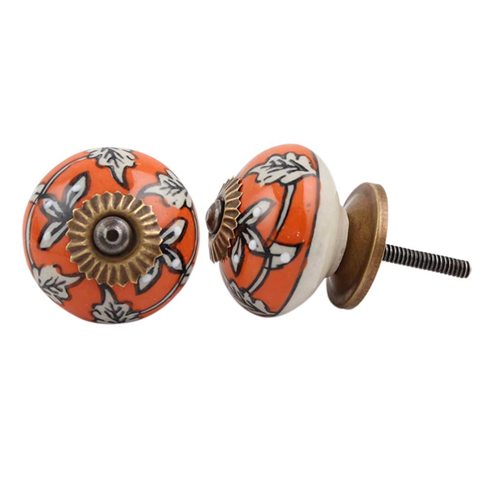 Orange Leaf Floral Ceramic Knob