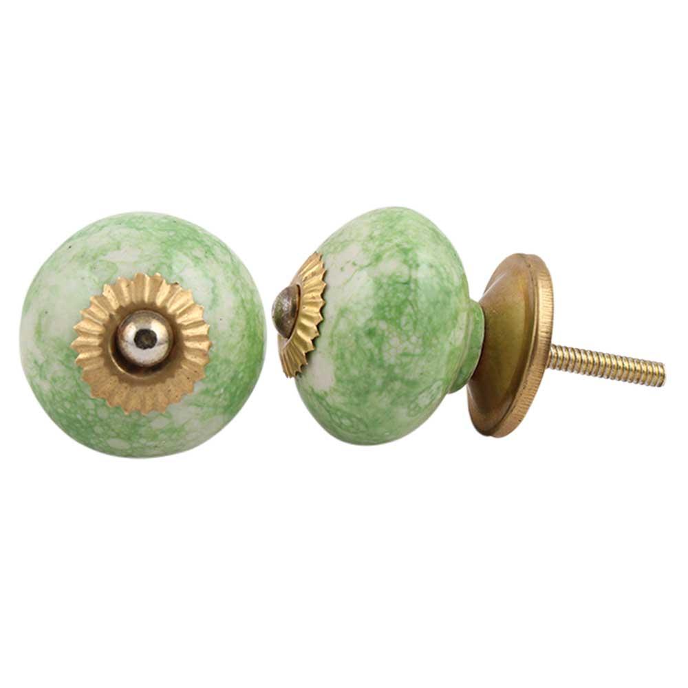 Pea Green Round Ceramic Knob