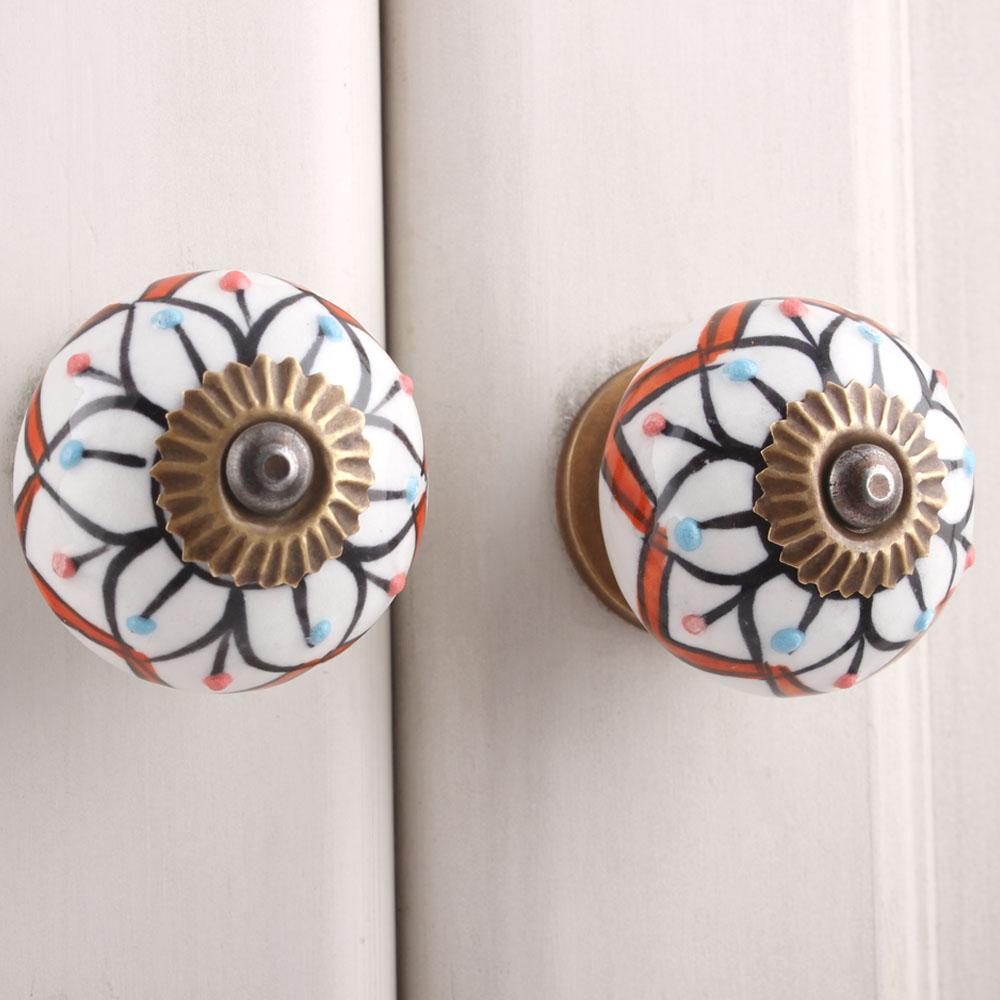 Petunia Flower Ceramic Knob