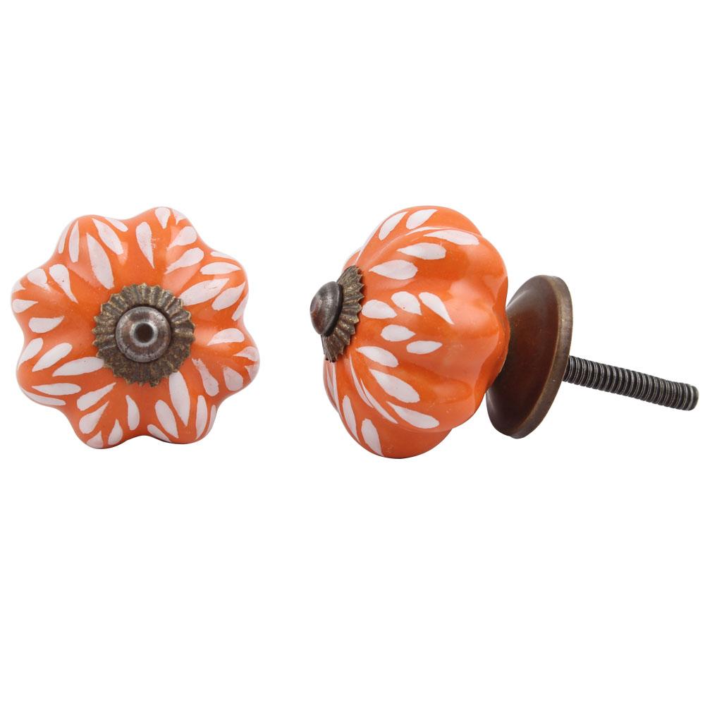 Orange Leaf Medium Ceramic Knob