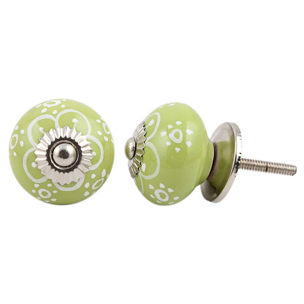 Lime Floral Ceramic Knob