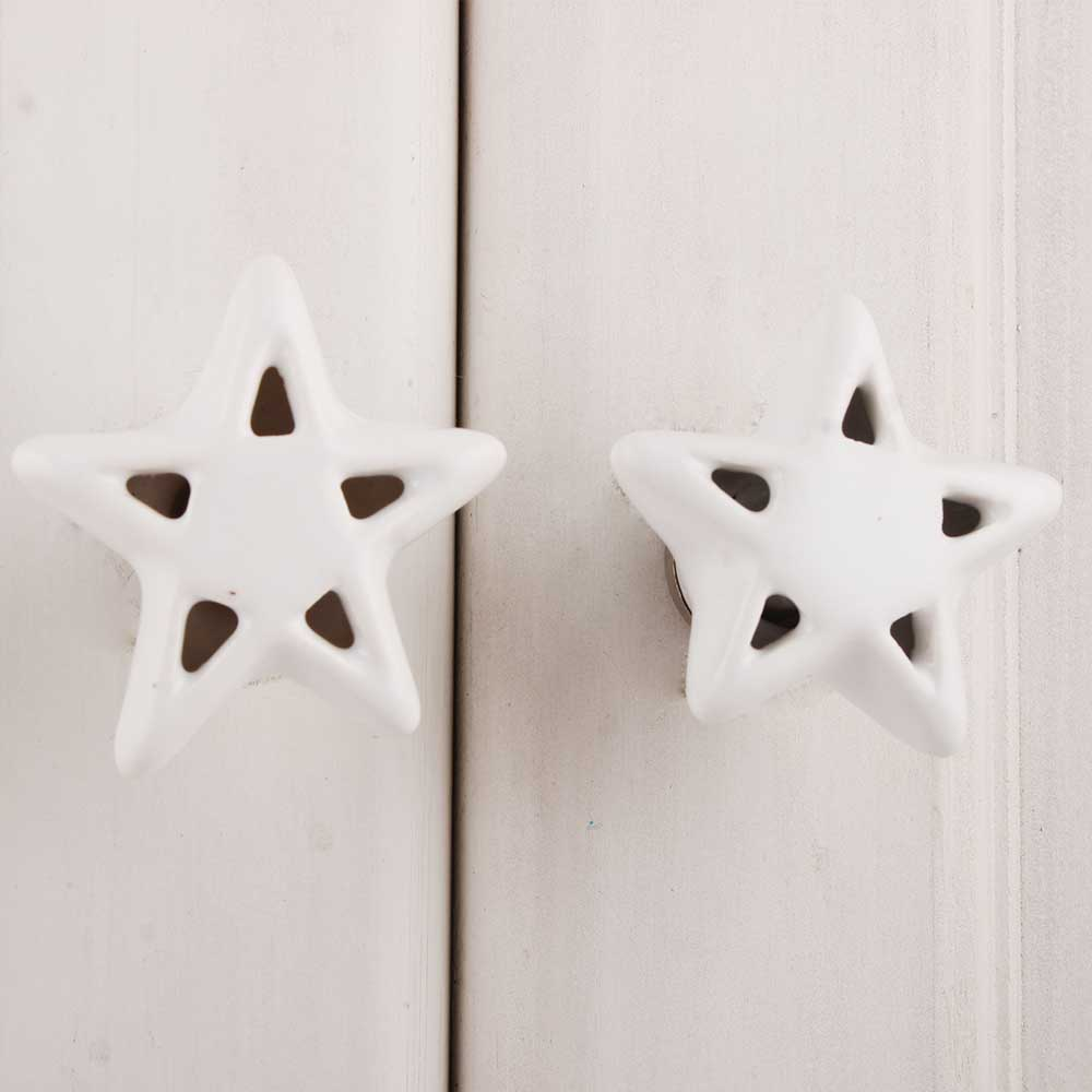 White Star Ceramic Knob