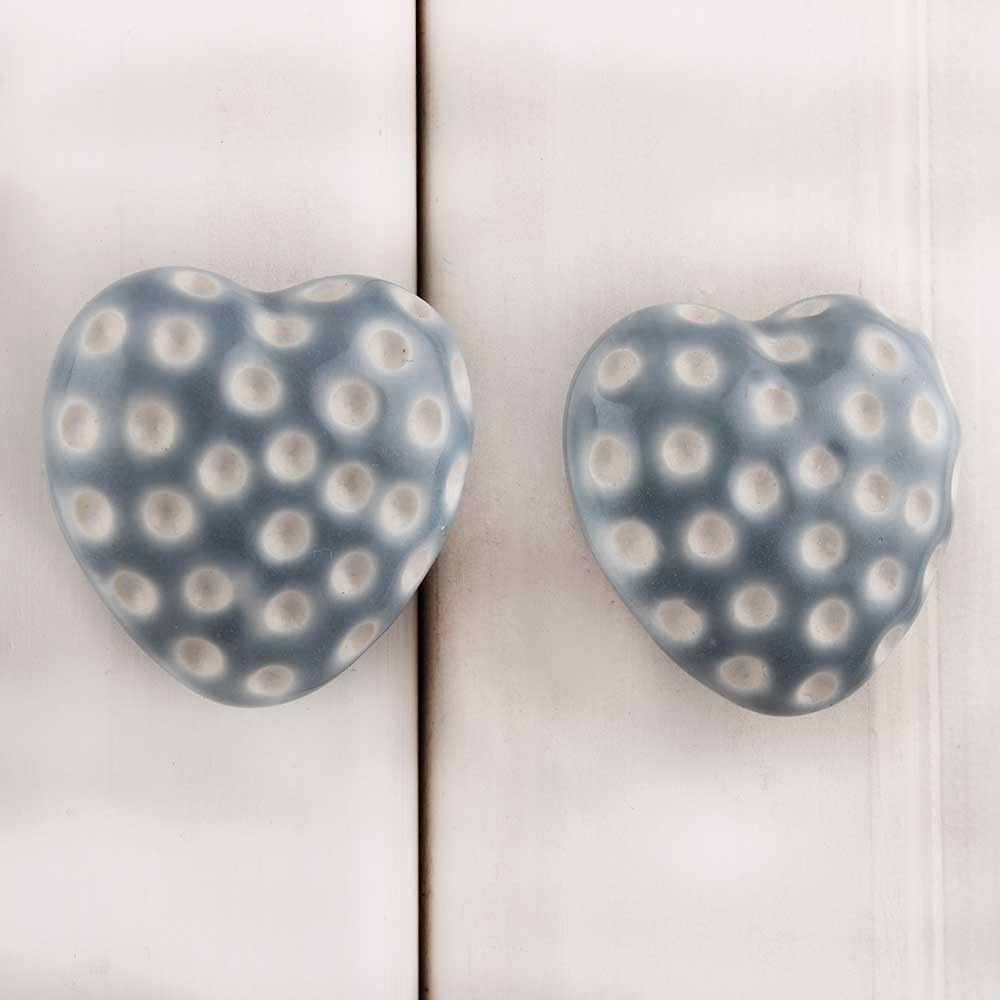 Grey Heart Etched Ceramic Knob