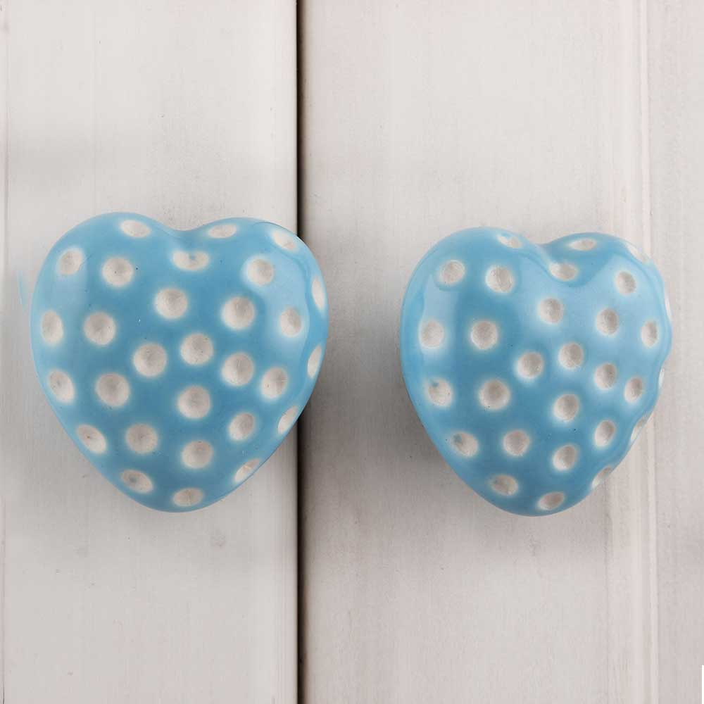 Turquoise Heart Etched Ceramic Knob