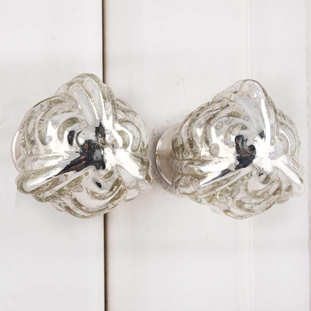 Avocado Silver Glass Knob