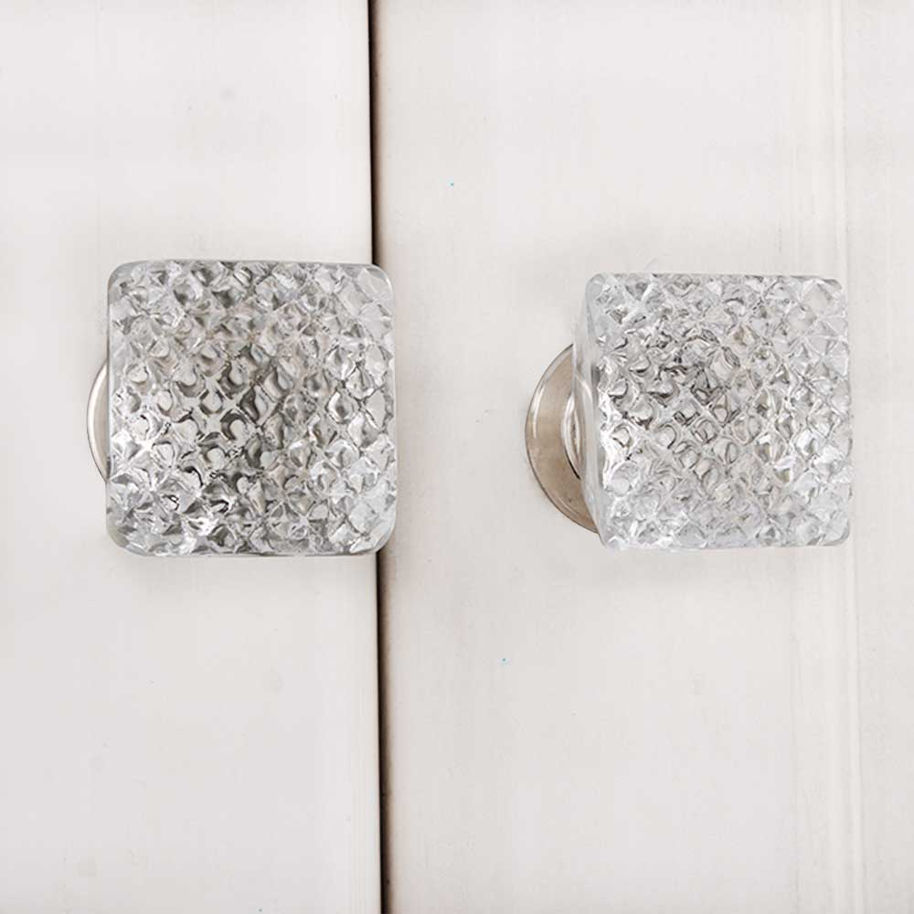 Clear Netcut Square Silver Drawer Knobs