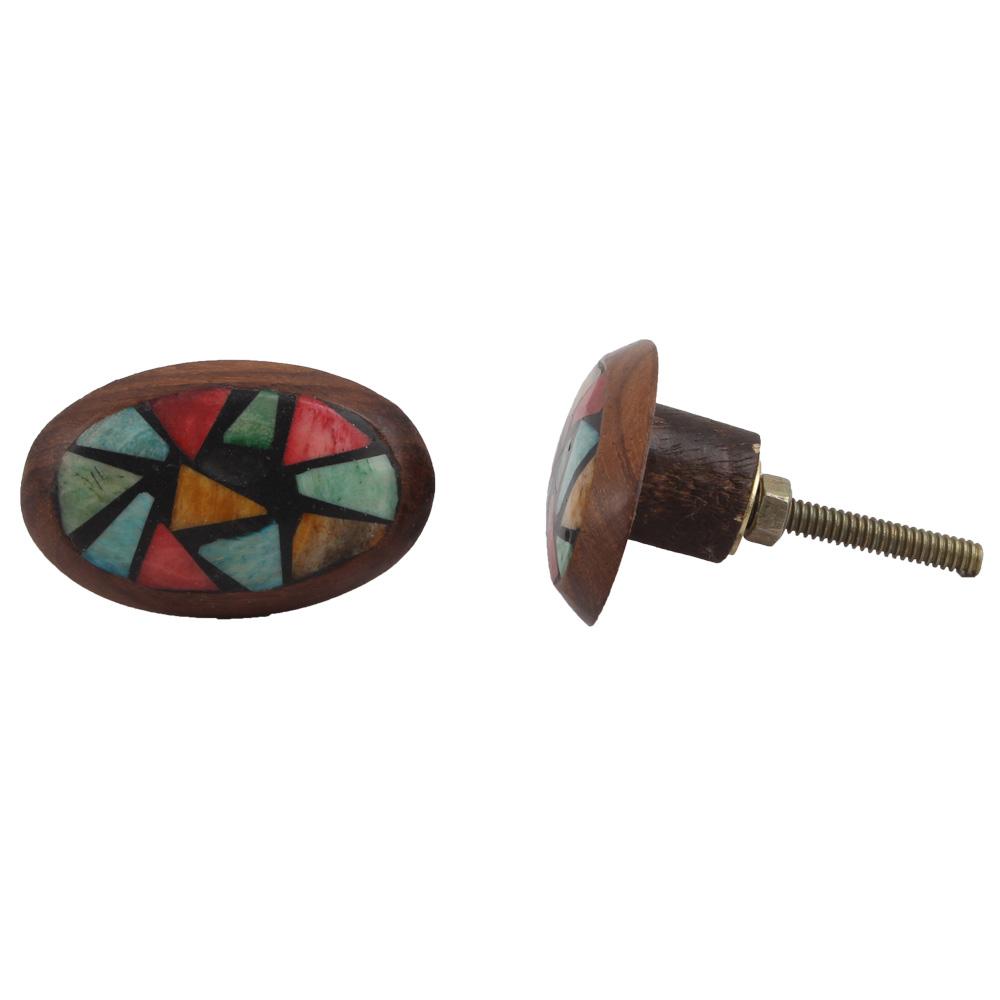 Multicolor Wooden Knob