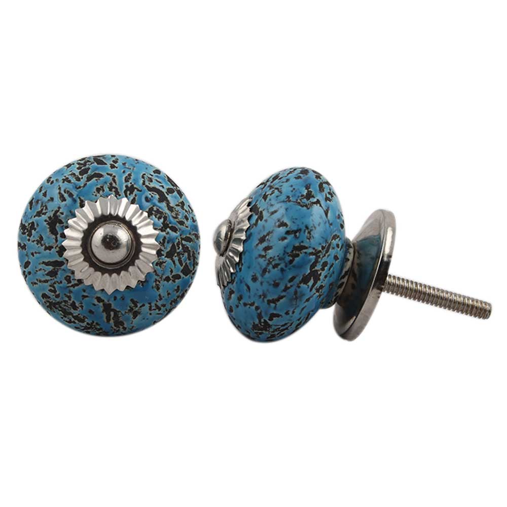 Turquoise Black Etched Knobs