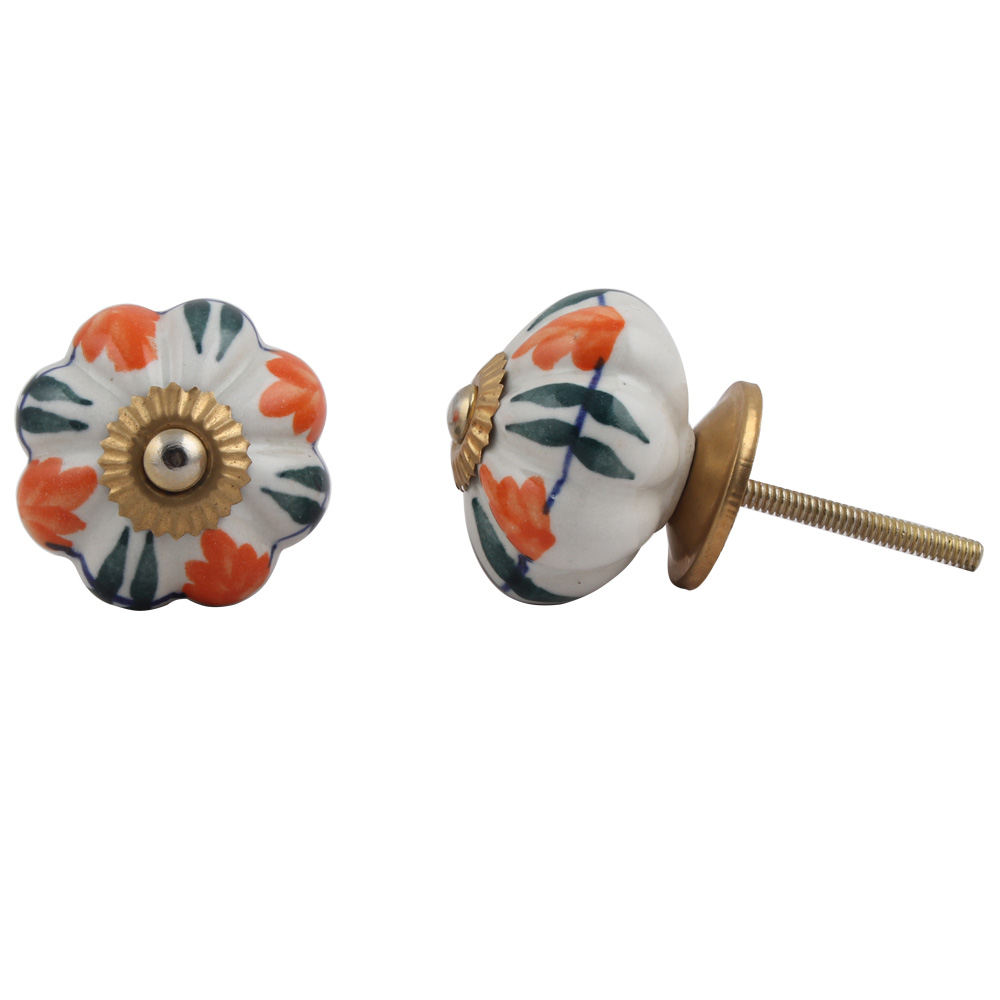 White Orange Floral Black Knob