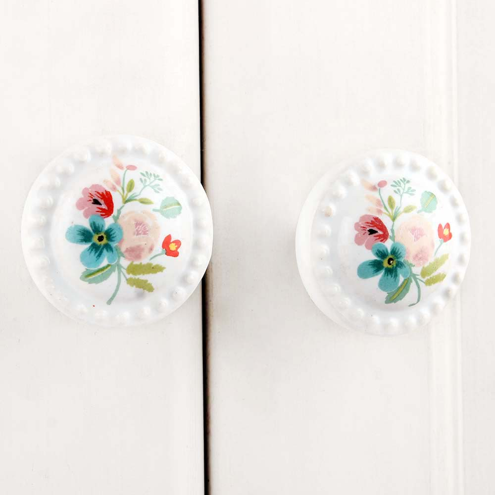 Multicolor White Flower Knob