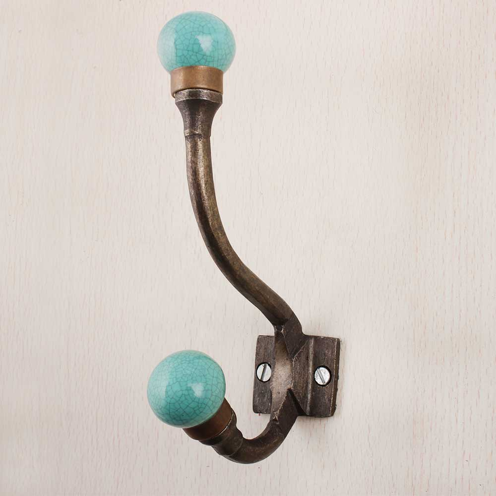 Turquoise Floral Iron Hook-EHG-86
