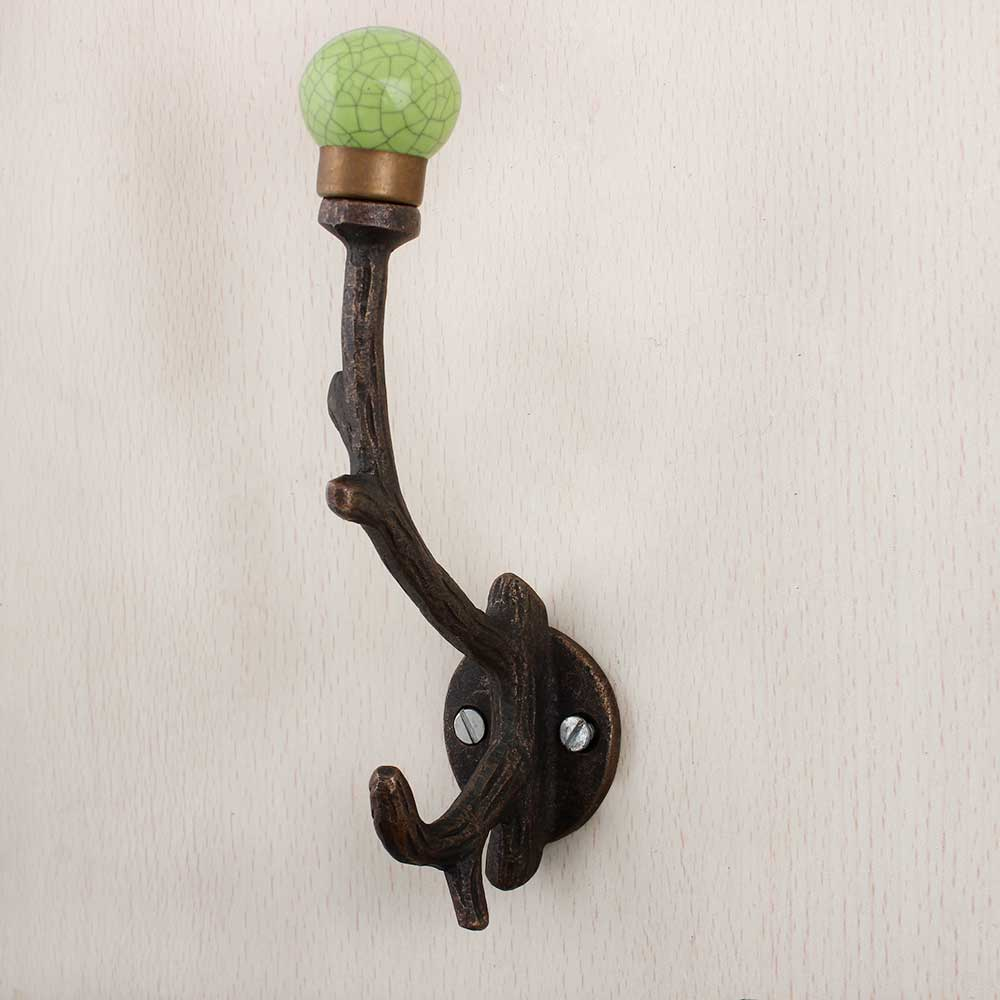 Lime Green Crackle Tree Hooks-EHG-88
