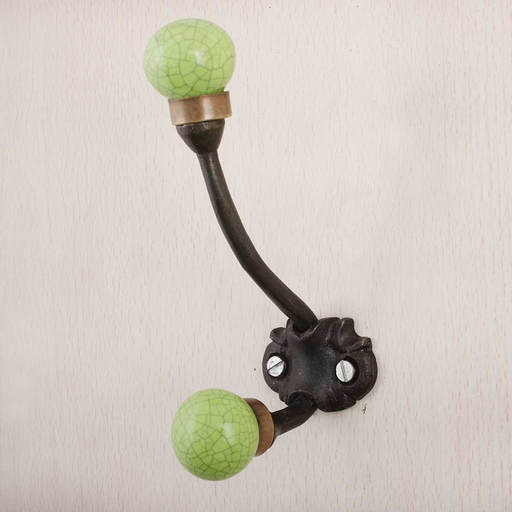 Lime Green Crackle Iron Hooks-EHG-88