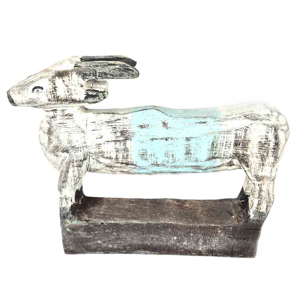 White and Black Long Body Wooden Cow
