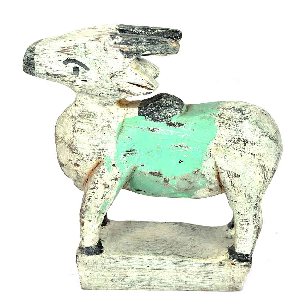 Wooden Standing Cow with Green Band on the Back