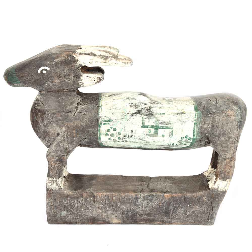Woody Black and Grey Coloured Cow with Swastika
