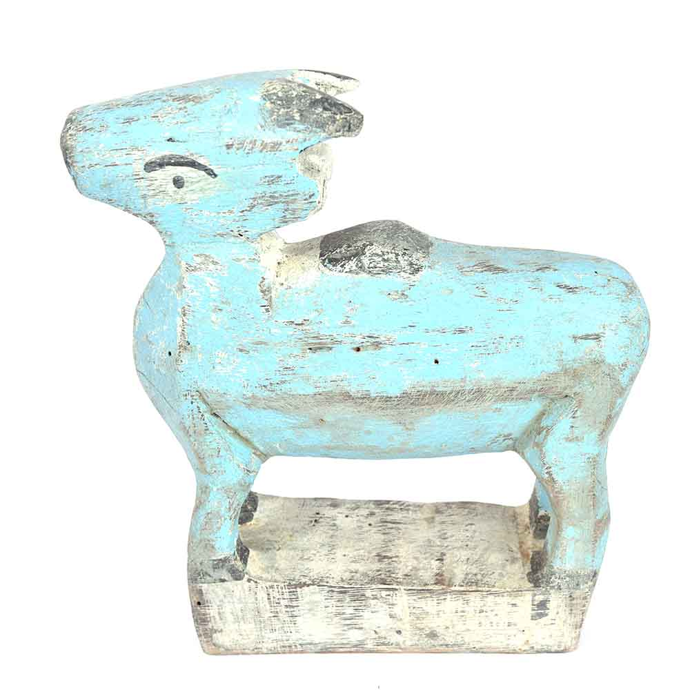 Bucolic Small Blue Painted Wooden Cow
