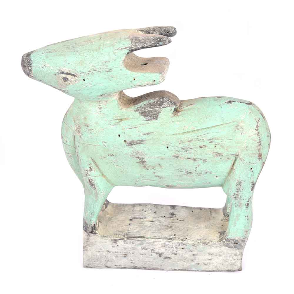 Sea Green Roughly Painted Wooden Cow