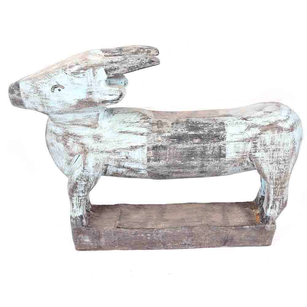 Hand Painted Wooden Cow with Rustic Features