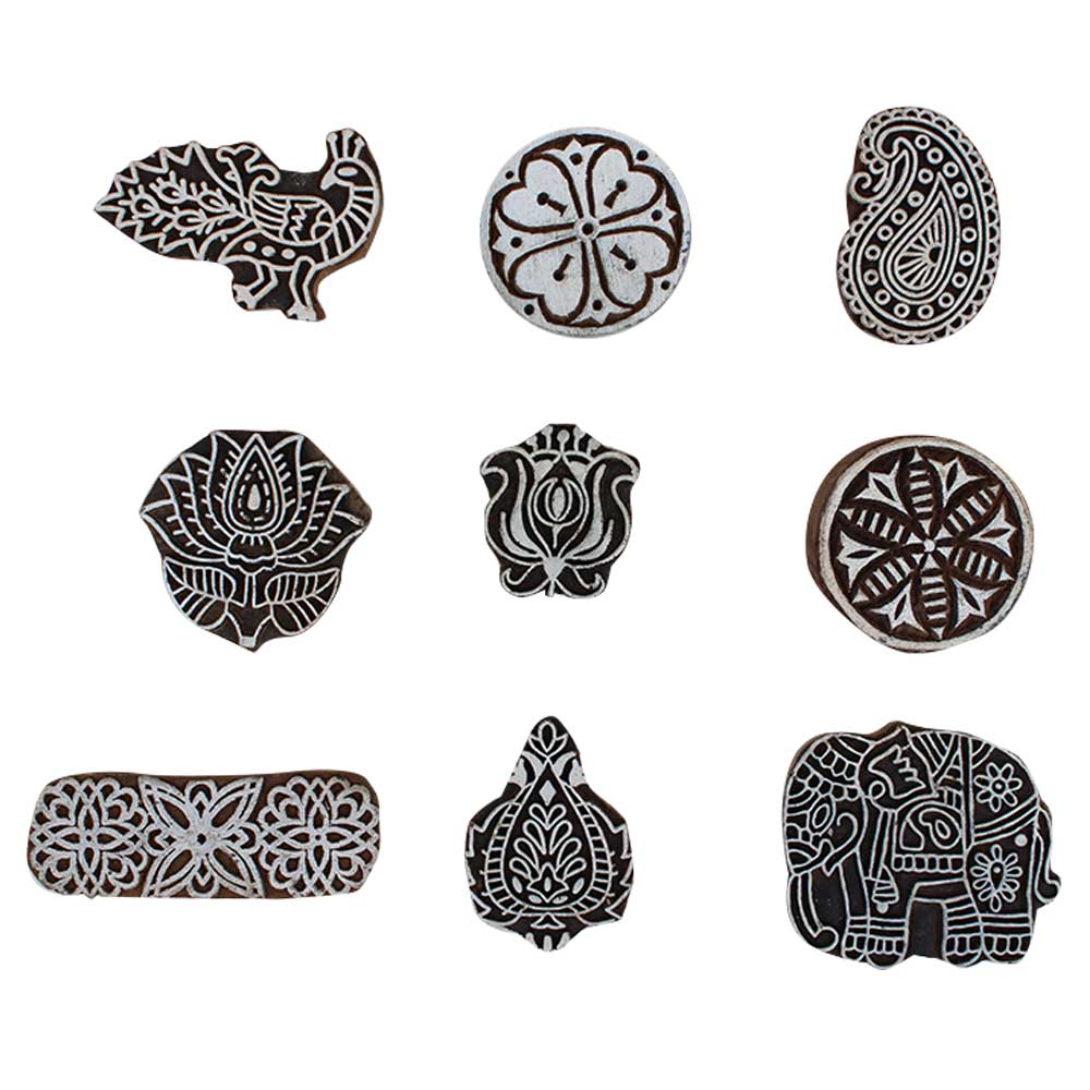 Set of 9 Piece New Mix Wooden Printing Block