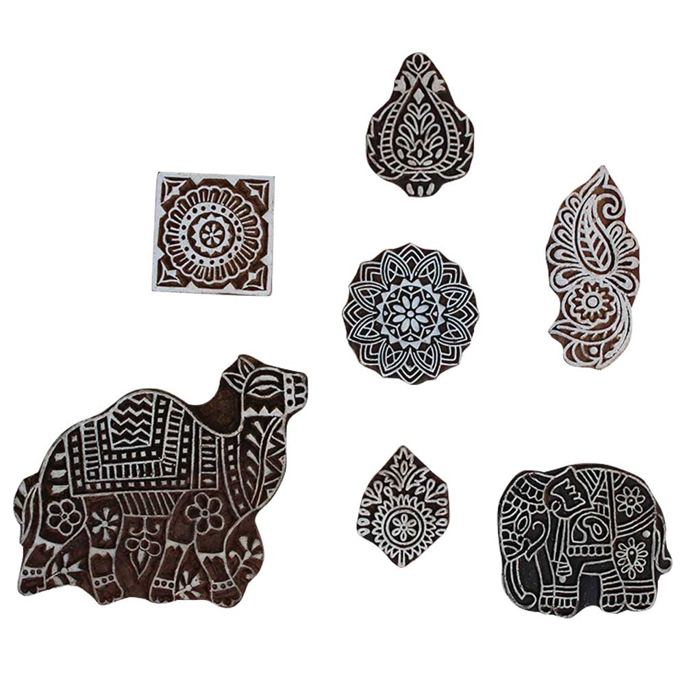 Set of 7 Piece New Mix Wooden Printing Block