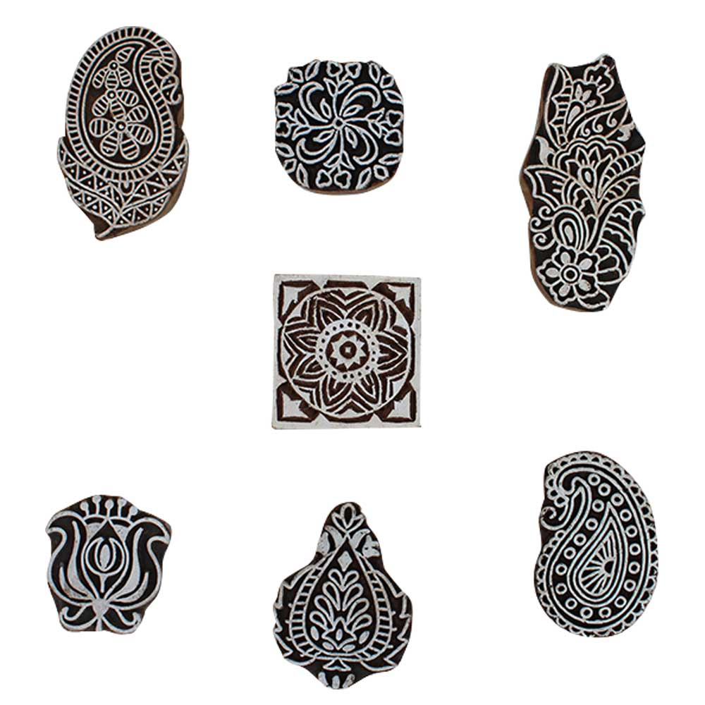 Set of 7 Piece New Mix Wooden Printing Block