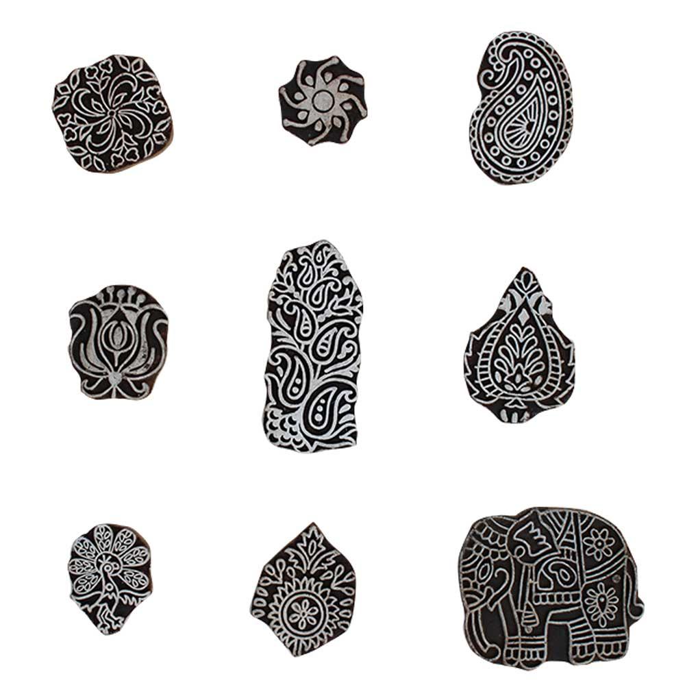 Set of 9 Piece New Mix Wooden Printing Block