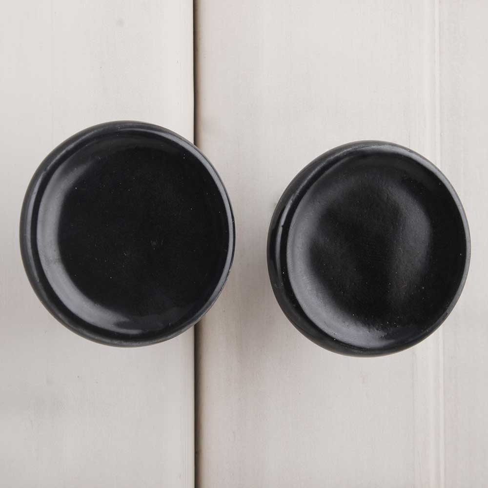 Black Round Solid Door Knob