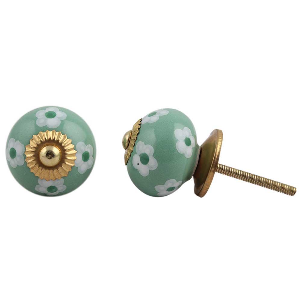 Green Floral Ceramic Knob