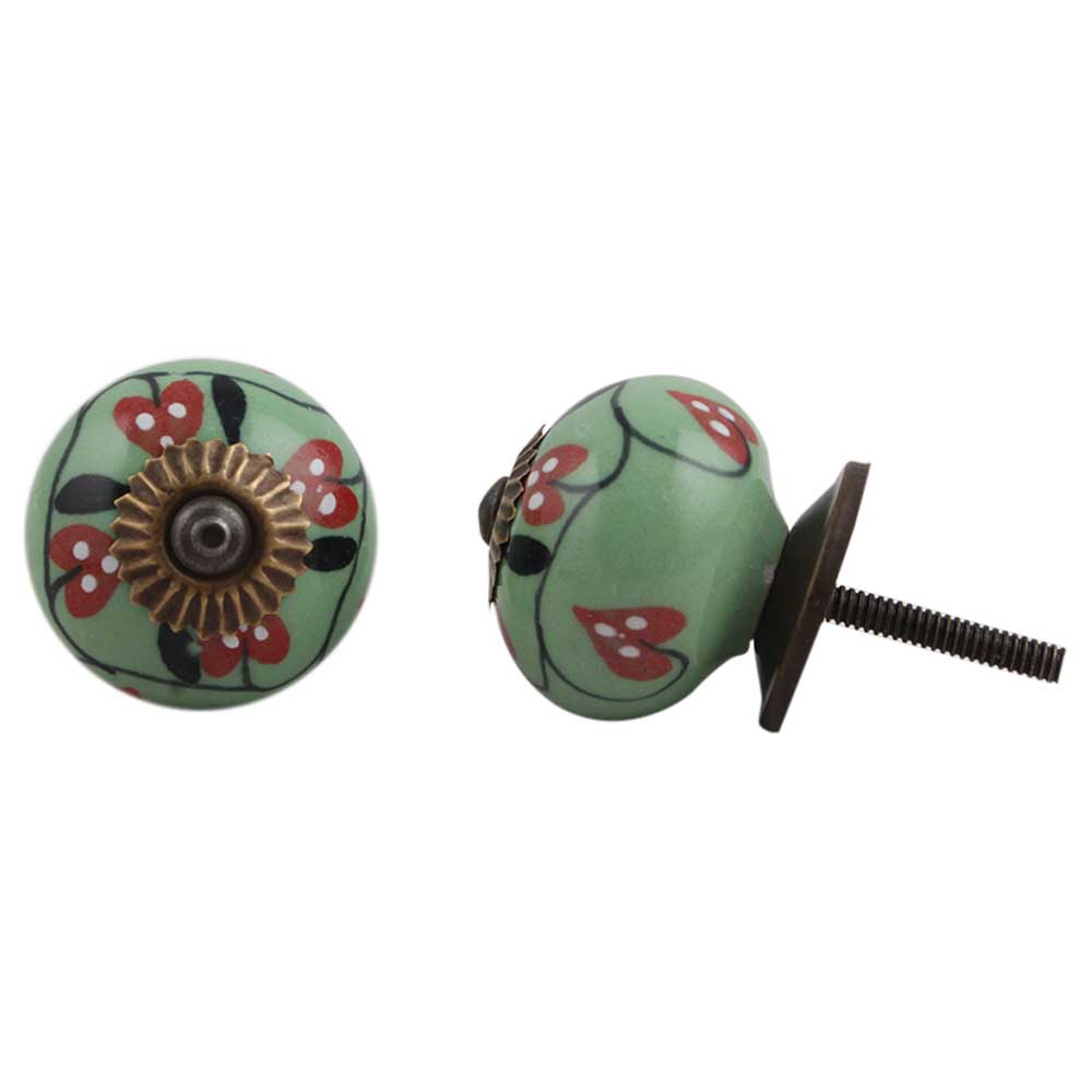 Green Red Flower Knob